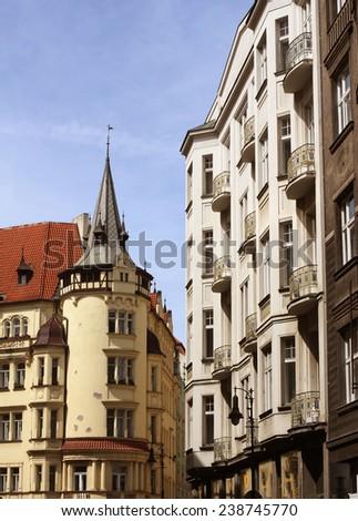 beautiful street in Prague - stock photo