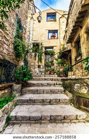 Beautiful street of of the old town - stock photo