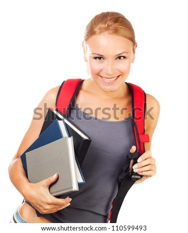Beautiful student girl isolated on white background, smart pretty teenager female holding textbooks, back to school, cute schoolgirl with backpack, knowledge and education concept