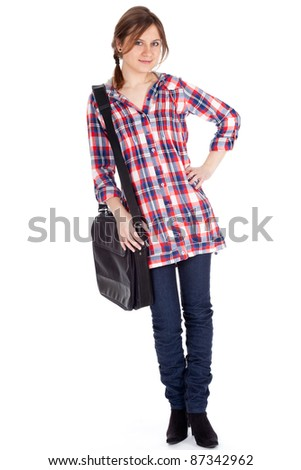 beautiful student girl with laptop bag, white background