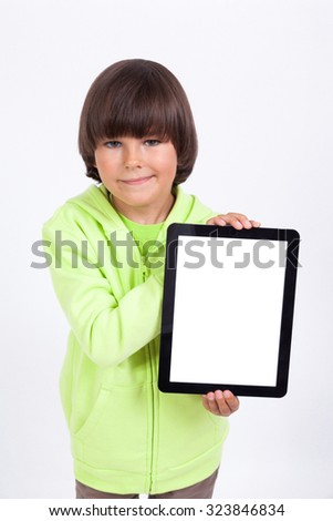 beautiful student on a white background holding a plate, selective focus on the tablet, picture with depth of field. - stock photo
