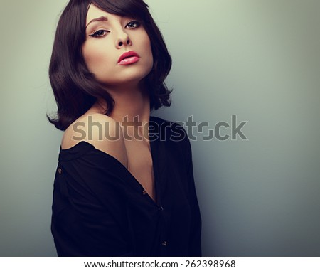 Beautiful style woman in shirt with black short hair. Vintage portrait - stock photo