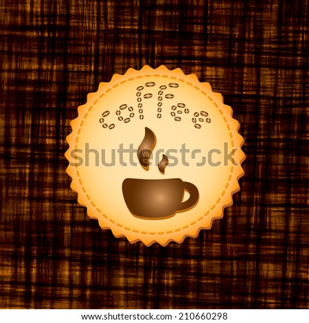 Beautiful stylish dark background with coffee cup on cookie. Square illustration. Menu for restaurant, cafe, bar, coffeehouse. - stock photo