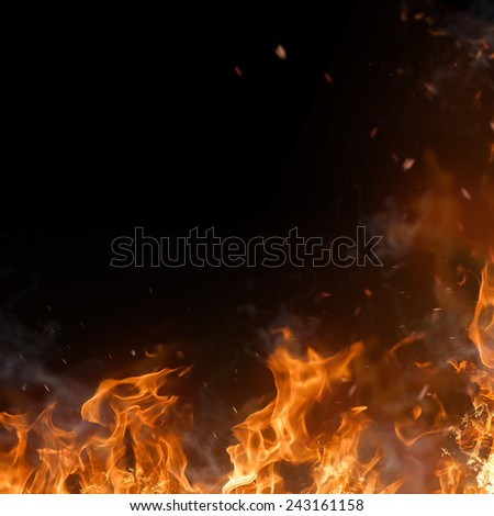 Beautiful stylish fire flames, close-up. - stock photo