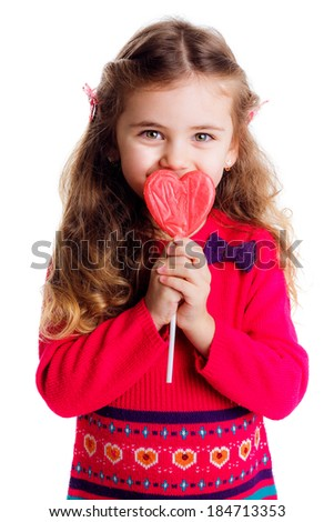 beautiful stylish girl in a red dress with lollipop hands. isolated on white background. smile, be happy, happy, close-up