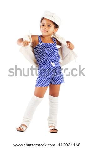 Beautiful stylish little girl against white background - stock photo