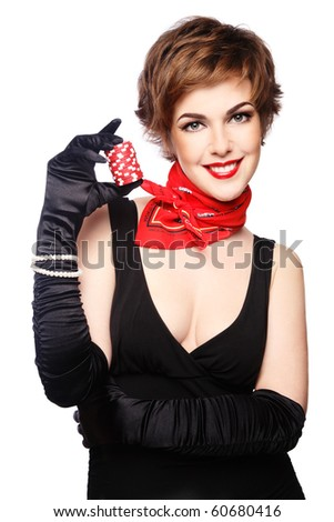 Beautiful stylish smiling young woman with poker chips in hand, on white background