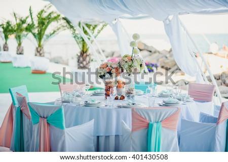 Beautiful stylish table decoration in restaurant - stock photo