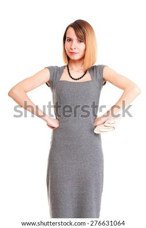 Beautiful stylish woman in elegant grey dress isolated white - stock photo