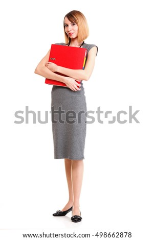 Beautiful stylish woman in elegant grey dress isolated white successful business woman red folder
