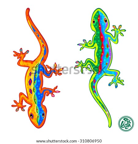 Beautiful stylized colored lizards isolated on white background, Gecko.  - stock photo