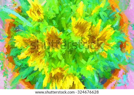 Beautiful stylized gazania, camomile for background, wallpaper, screen, postcard, poster, invitation, decoration, fabric, cover, dress, greeting card, package