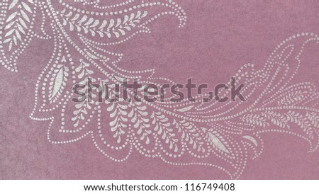 Beautiful, subtle floral ornament in violet and beige. - stock photo