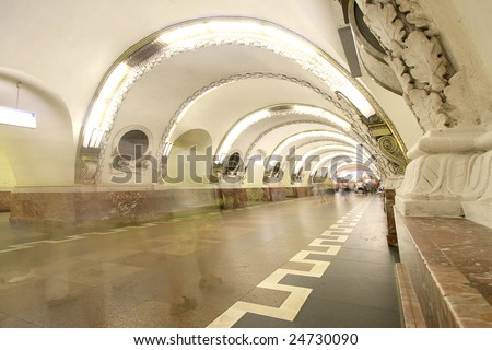 beautiful subway interior from the 50's - stock photo