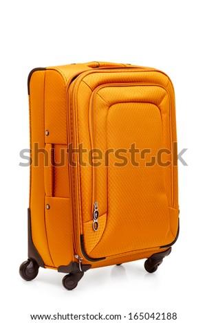 Beautiful suitcase isolated on white background - stock photo