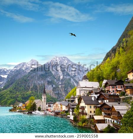 Beautiful summer Alpine Hallstatt Town and lake Hallstatter See view Austria - stock photo