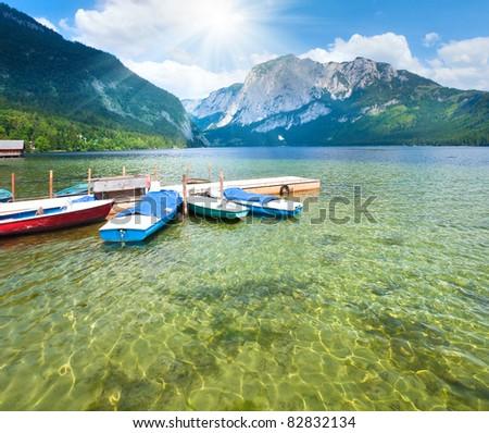 Beautiful summer Alpine  lake Altausseer view (Austria) - stock photo