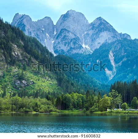 Beautiful summer Alpine  lake Gosausee view (Austria). Two shots composite picture.