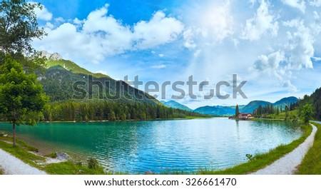 Beautiful summer Alpine  lake Pillersee sunshine panorama (Austria). Two shots composite picture. - stock photo