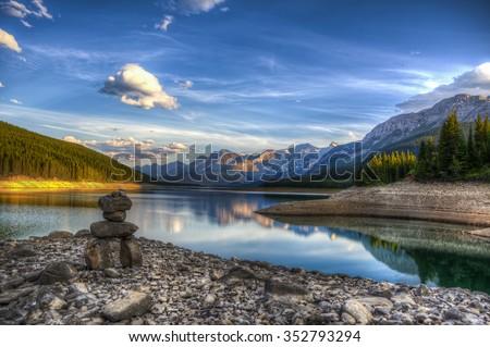 Beautiful summer evening, Kananaskis Lakes Alberta Canada - stock photo
