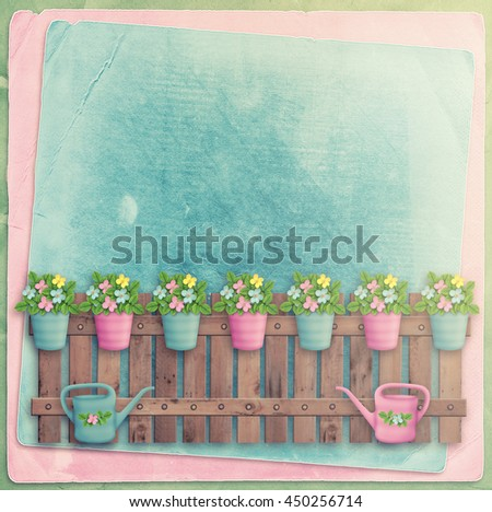Beautiful summer flowers in pots on  fence on background of abstract wall