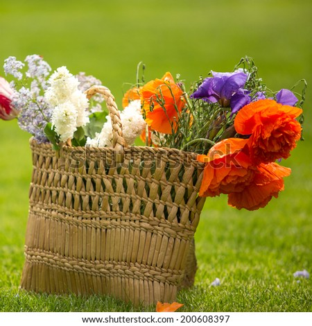 Beautiful summer flowers in wicker summer bag