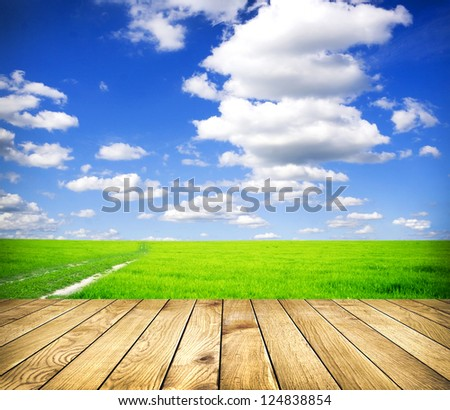 Beautiful summer green field  blue sky with grey clouds and wooden planks on floor - stock photo