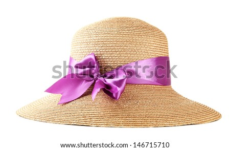 Beautiful summer hat, isolated on white - stock photo