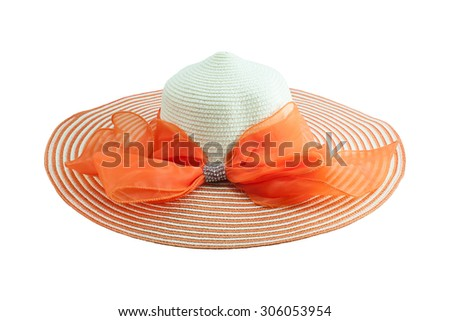 Beautiful summer hat, isolated on white , with clipping path. - stock photo