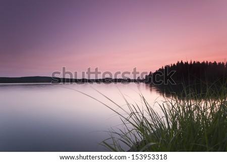 Beautiful summer lake view, dalarna - stock photo