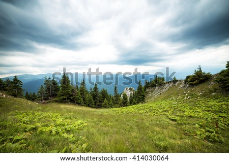 Beautiful summer landscape from the mountains, in Romania - stock photo