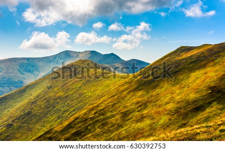 beautiful summer landscape. grassy meadow on a hillside of mountain ridge. good weather with blue sky and few clouds