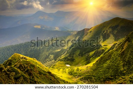 Beautiful summer landscape in the mountains. - stock photo