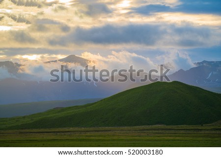 Beautiful summer landscape in the mountains with the sun at dawn, Very beautiful sky in the summer