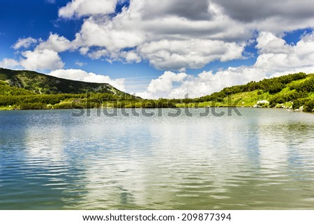 Beautiful summer landscape with Calcescu lake in Parang mountains,Romania  - stock photo