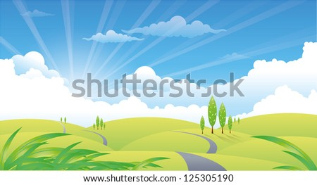beautiful summer landscape with hills and road - stock photo