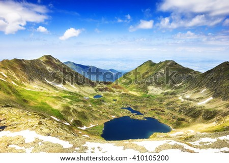 Beautiful summer landscape with lake from Fagaras mountains ,Romania - stock photo