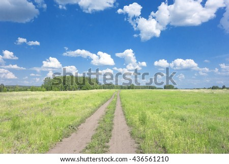 beautiful summer landscape with road and blue sky