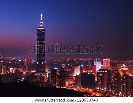 Beautiful Summer late evening over taipei city and Taipei 101 - stock photo