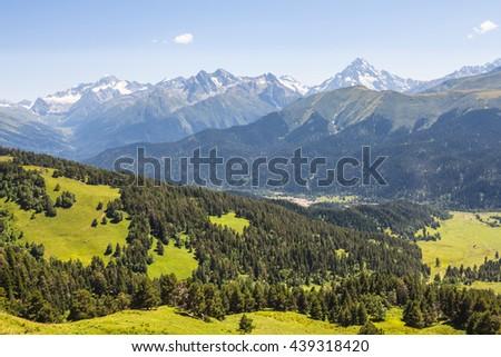 beautiful summer mountain landscape - stock photo
