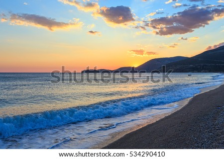 Beautiful summer sea sunset landscape. This beach in Borsh, Albania.