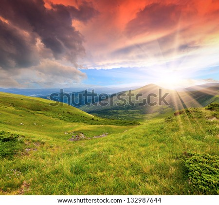 Beautiful summer sunrise in the Carpathian mountains. Ukraine - stock photo