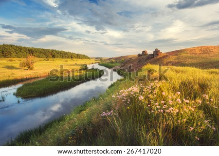 Beautiful summer sunset at the river with blue sky, clouds, yellow grass, flowers and water with reflection  (Ukraine) - stock photo