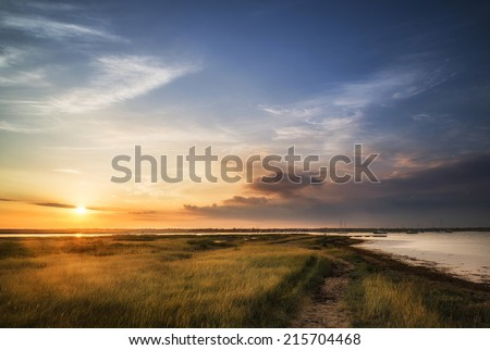 Beautiful Summer sunset landscape over wetlands and harbor