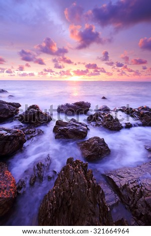 Beautiful summer sunset over the sea in Gulf of Thailand - stock photo