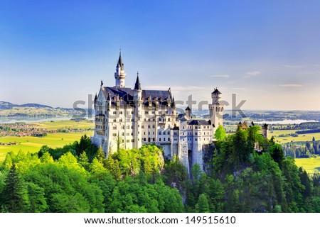 Beautiful summer view of the Neuschwanstein castle (Fussen Bavaria, Germany) - stock photo