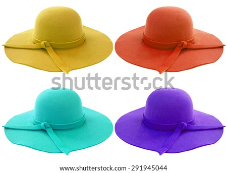 Beautiful summer woman hat isolated on white background - stock photo