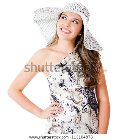 Beautiful summer woman wearing a hat - isolated over a white background