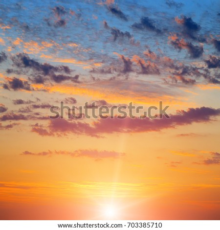 beautiful sun rise and cloudy sky