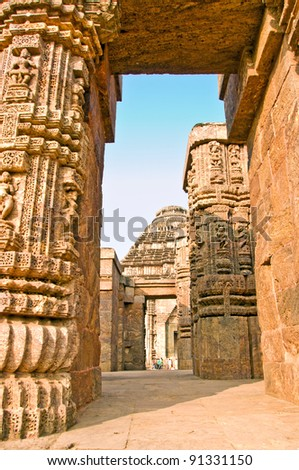 Beautiful sun temple of konark as seen through the passage of pillars, Orissa, India - stock photo